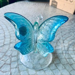 Fenton 70s Blue and Clear Butterfly Ringholder